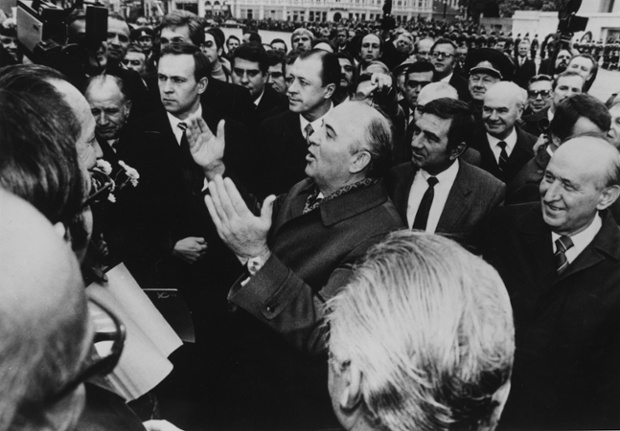 Gorbachev visits Sofia in Bulgaria in October 1985, as part of a tour to gain support for his reforms both inside and outside the USSR. Photograph: Keystone/Getty Images