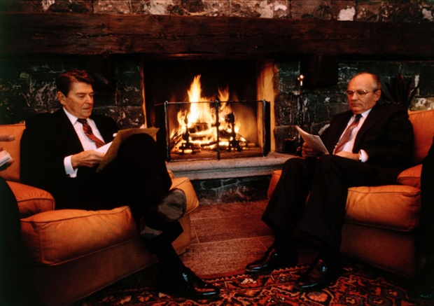 President Ronald Reagan and Soviet leader Mikhail Gorbachev held their historic fireside chat in a Geneva boat house on November 19, 1985 in Geneva, Switzerland. This was followed by their Reykjavik Summit the following year, culminating in the signing of the non-proliferation of nuclear weapons in December 1987.