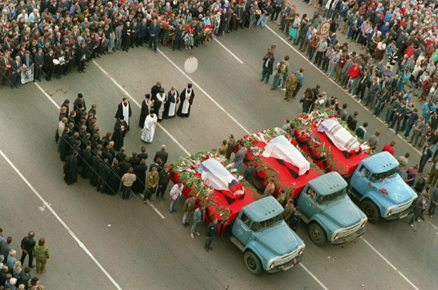 Three people died during the three day coup and their funeral was attended by thousands of people.