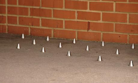 Metal spikes outside London flats