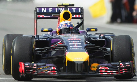Red Bull driver Daniel Ricciardo, from Australia, waves to fans after winning the Canadian Grand Prix .