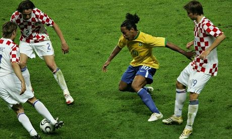 Ronaldinho takes on Croatia in the 2006 World Cup in Germany.