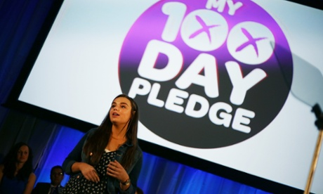 Better Together campaign supporter Shona Munro makes her 100 day pledge, at an event in Glasgow this morning