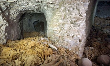 The entrance of the  11th-dynasty tomb found by Spanish archaeologists,