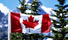 Canadian flag with mountains and evergreens in background, Canada Maple leaf