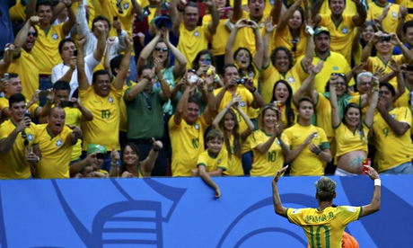 Brazil's Neymar gestures to the crowd