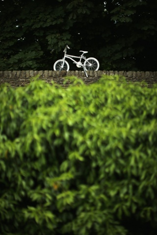 A painted bicycle sits on a dry stone wall in Addingham