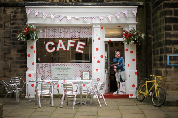 The famous Sid's Cafe is decorated with King of the Mountains polka dots.