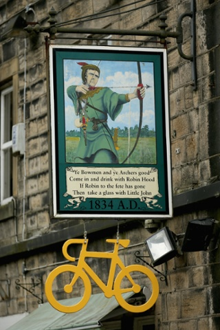 The Robin Hood Pub in Cragg Vale adds a yellow bicycle to its sign
