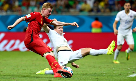 Kevin De Bruyne scores Belgium's first goal early in extra time of their round-of-16 match v USA.