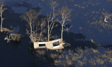 A piece of a home lies among trees in flooded marshland along the Gulf Coast of Louisiana in 2005's Hurricane Rita. Many experts believe that the rapid sinking of the Louisiana coast may have lowered New Orleans levees.
