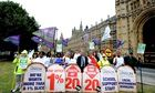 Unison chief Dave Prentis joins public sector workers on strike outside Houses of Parliament