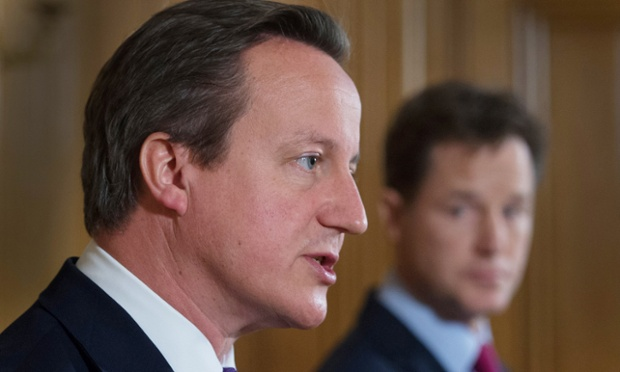 David Cameron and Nick Clegg at a press conference, where they announced emergency surveillance legislation.