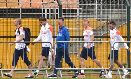 Louis van Gaal and members of his squad.