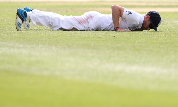 Ian Bell of England fails to stop a boundary during day two of the first Test between England and India at Trent Bridge.