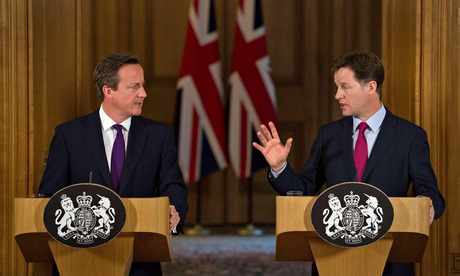 Nick Clegg (right) on a rare public appearance with the prime minister David Cameron.
