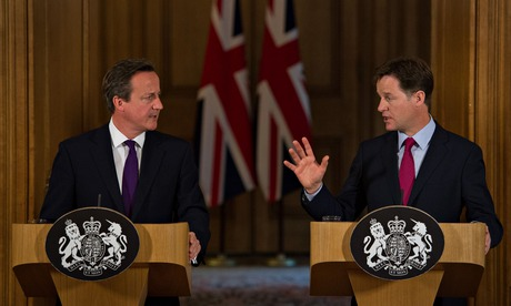 David Cameron and Nick Clegg at a conference to confirm new data rention laws