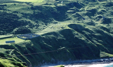 A 25 metre Yes carved into a hillside near the village of Gardenstown in Banffshire, using garden strimmers