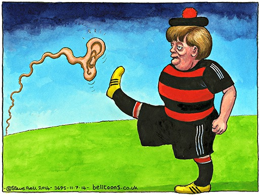 Steve Bell on Angela Merkel asking US intelligence official to leave Germany