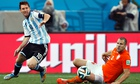 Lionel Messi in action during the World Cup semi-final against Holland.