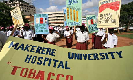An anti-smoking demonstration in Uganda. Photograph: Corbis