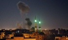 Smoke rises after an Israeli air strike in Rafah,  southern Gaza Strip, early on Saturday 12 July.