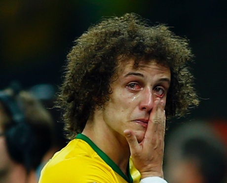 David Luiz cries after Brazil lost to Germany in the semi-finals.