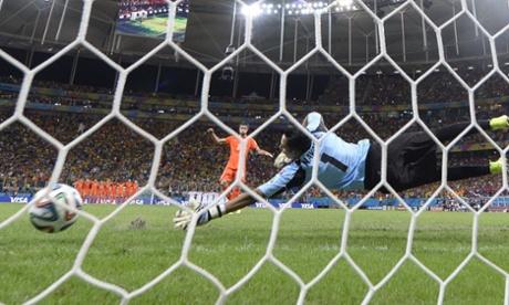 Robin van Persie's penalty beats Costa Rica keeper Keylor Navas.