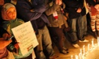 Palestinians in Chile hold a vigil calling for an end to the Israeli bombardment of Gaza.