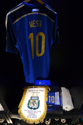 The shirt worn by Lionel Messi of Argentina and the match pennant