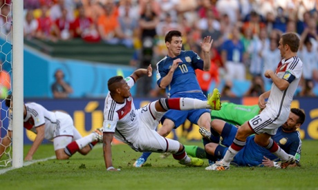 Lionel Messi caused consternation in the German six yard box.