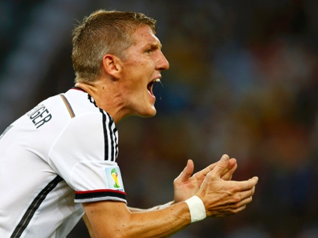 With Argentina having the better of the second half  Bastian Schweinsteiger urges his team-mates on