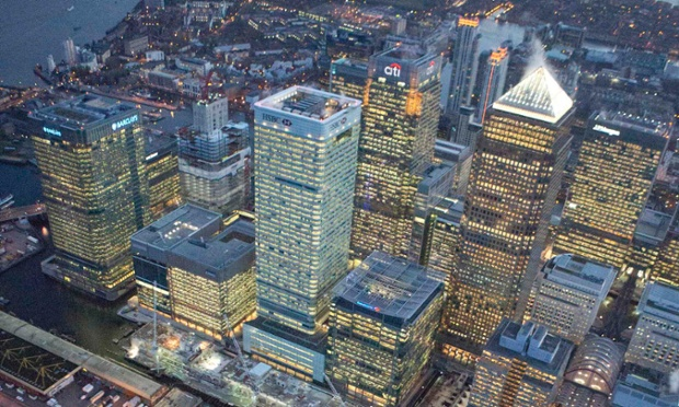 The Canary Wharf financial district in east London.