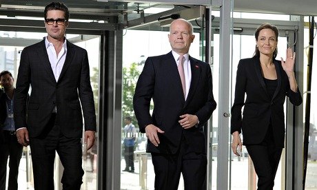 Brad Pitt, William Hague and Angelina Jolie