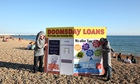 Payday loans campaigners on Brighton beach ahead of the Labour party conference, 2013