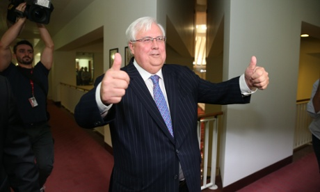 PUP leader Clive Palmer after talking to the media in the press gallery this afternoon Tuesday 15th July 2014