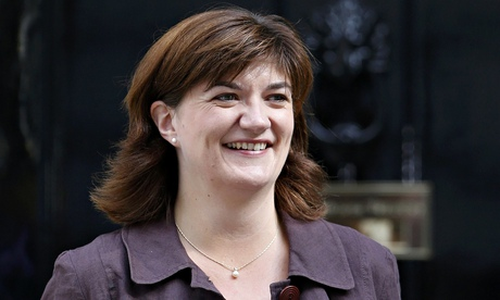 The new education secretary, Nicky Morgan leaves No 10 after her appointment.