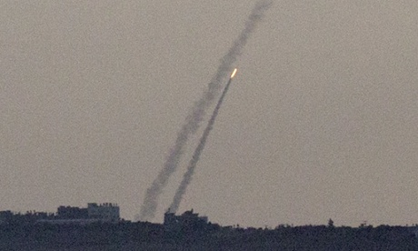 Rockets being launched from the Gaza Strip.