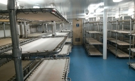 The lower deck of the Australian Customs vessel Ocean Protector, where asylum seekers are held.