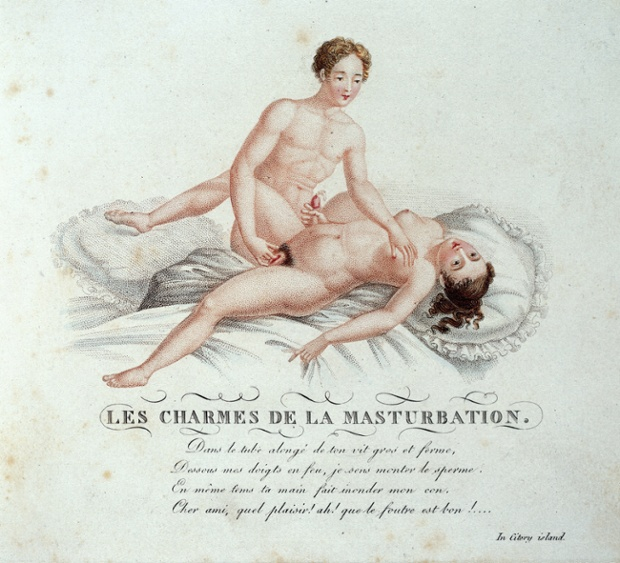 'Les charmes de la masturbation' Page from 'Invocation a l'amour, chant philosophique' ('A virtuoso of the good fashion') c. 1825