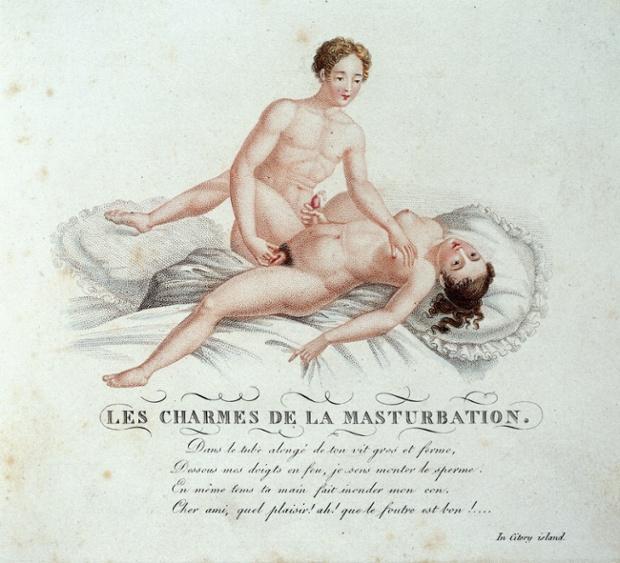 'Les charmes de la masturbation' Page from 'Invocation a l'amour, chant philosophique' ('A virtuoso of the good fashion') c. 1825