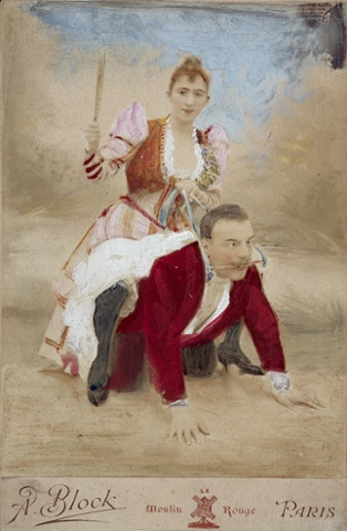 Woman riding man, coloured postcard, from collection of Richard von Krafft-Ebing (1840-1902)
