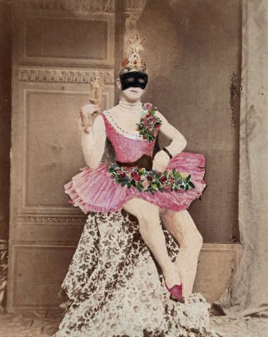 Masked man in pink tutu