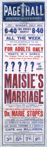 Loaded Playbill for Maisie's Marriage, 1923, based on 'Married Love' by Dr Marie Stopes
