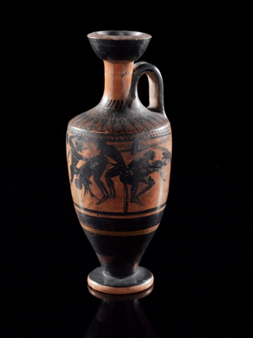 Cylindrical lekythos, with black figure decoration, showing scenes of copulation, probably from Attica, Greece, 550BC-500BC