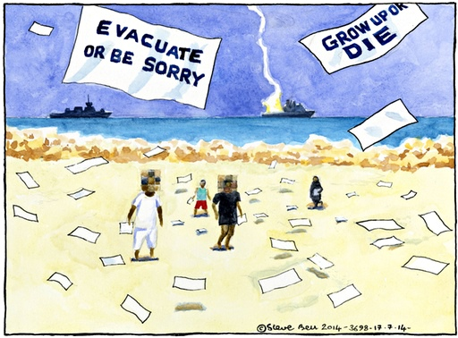 EVACUATE OR BE SORRY ~ GROW UP OR DIE ~ Steve Bell on the Israeli airstrikes on Gaza