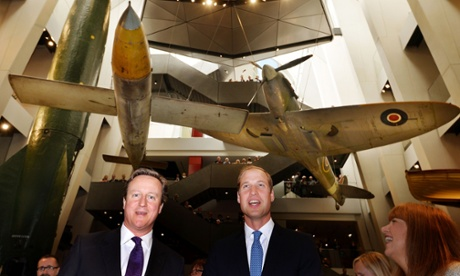 David Cameron and Prince William visiting the newly refurbished Imperial War Museum today.