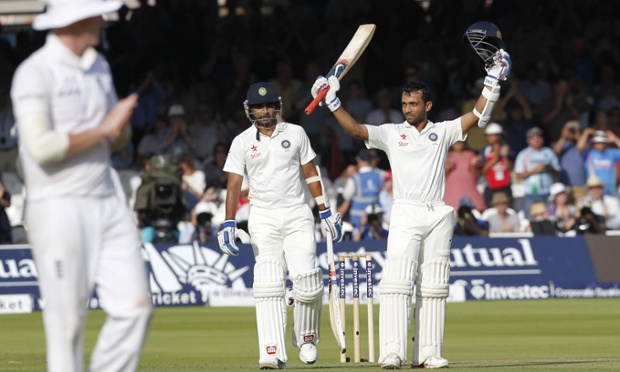 India's Ajinkya Rahane celebrates his century during the first day of the second Test at Lord's.