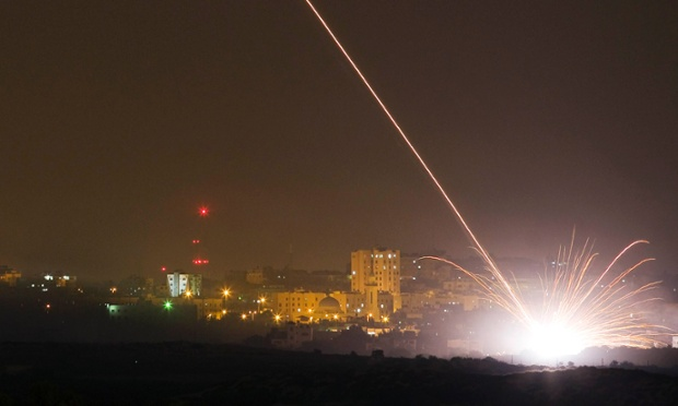 An Israeli rocket is fired into the Gaza Strip after Binyamin Netanyahu instructed the military to begin a ground offensive