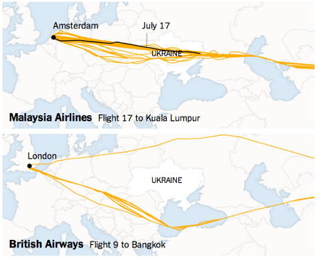 The New York Times has mapped the flight paths of planes in the last week, showing some airlines avoiding the Ukraine, while others, including Malaysia Airlines have not.